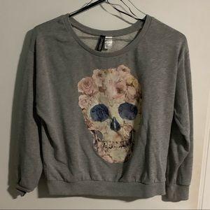 Gray Skull Sweatshirt